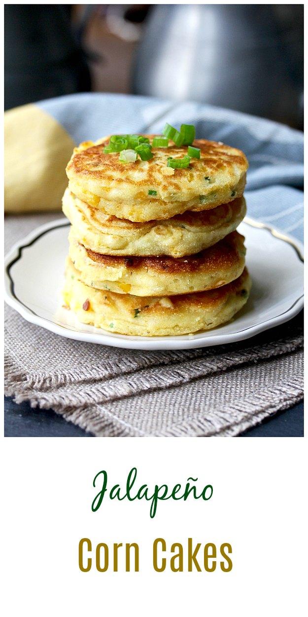 Jalapeño Corn Cakes with green onions #pancakes #corncakes