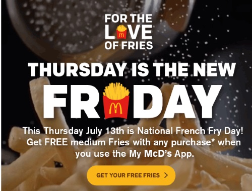 Mcdonalds Free Medium Fries National French Fry Day