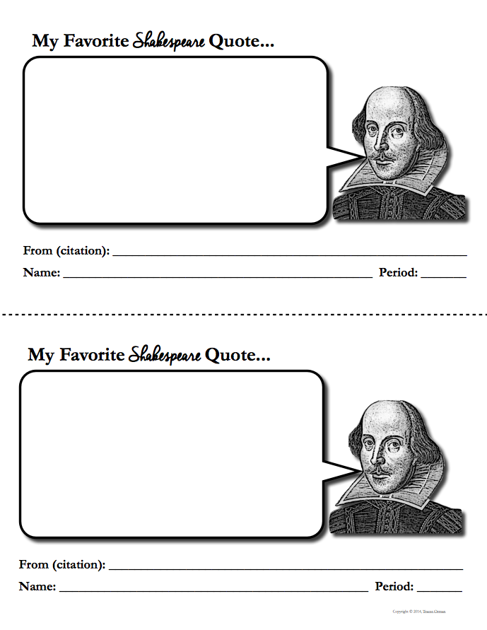 My Favorite Shakespeare Quotes FREE Download http://www.teacherspayteachers.com/Product/Shakespeare-Activities-Free-Download-1216646