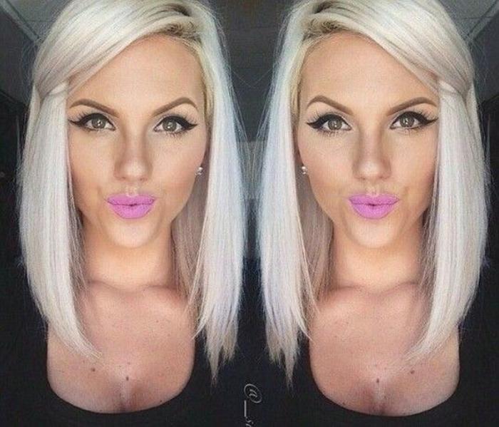 blond, platynowy, blonde Long bob - fryzura