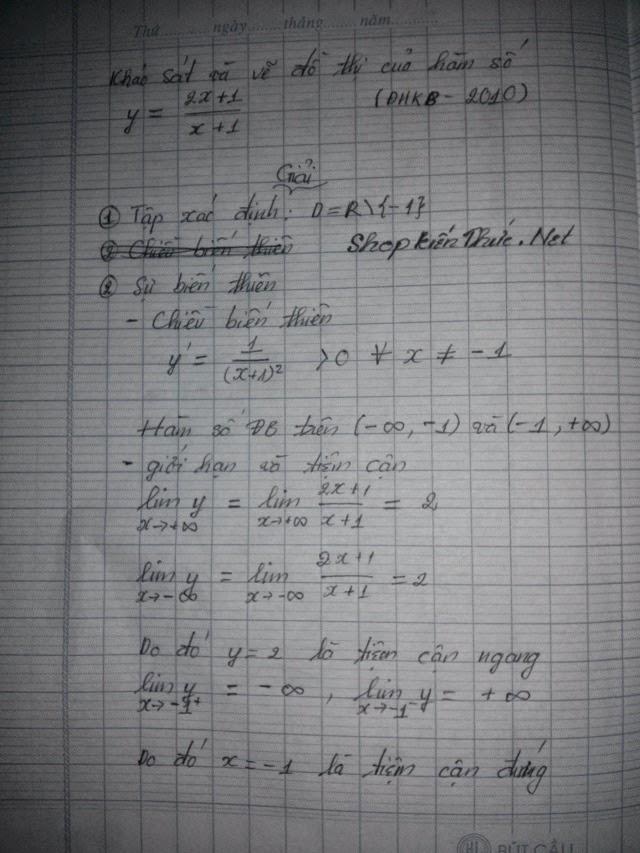 Bài tập mẫu khảo sát hàm số hữu tỉ - trang 1