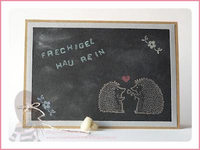 Stampin' Up! rosa Mädchen Kulmbach: Karte zur Einschulung im Tafellook mit Love you lots, Wie Du bist und Labeler Alphabet