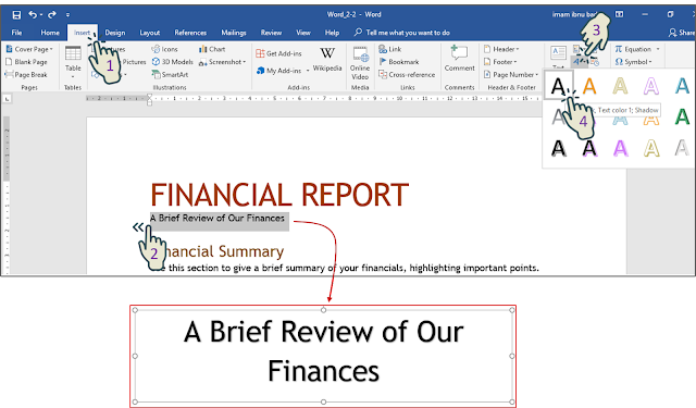 "Menerapkan WordArt di kalimat ""A Brief Review of Our Finances"""