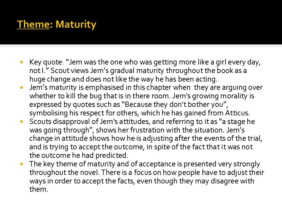 essay on jems maturity