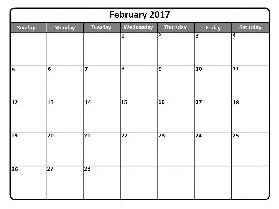 Printable Calender Printable February Calendar 2017 PDF