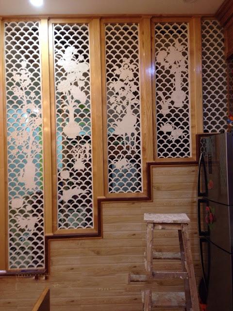 Vách ngăn gỗ cnc đẹp