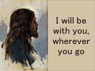 """picture of Jesus who will be with us.   His message:   Chorus:  I will be with you wherever you go. Go now throughout the world! I will be with you in all that you say. Go now and spread my word!    1  Come, walk with me on stormy waters. Why fear? Reach out, and I'll be there.   2  And you, my friend, will you now leave me, Or do you know me as your Lord?  3Your life will be transformed with power By living truly in my name.  4  And if you say: 'Yes, Lord I love you,"""" Then feed my lambs and feed my sheep"""