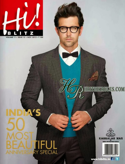 Hrithik on the cover of Hi Blitz's anniversary special. India's 50 most beautiful