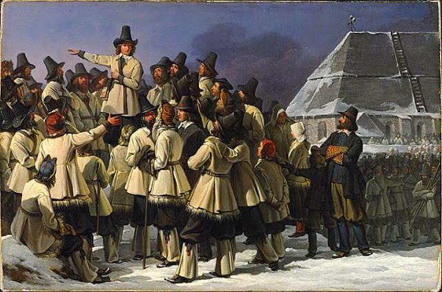 Gustav Eriksson addressing men from Dalarna in Mora by Johan Gustaf Sandberg