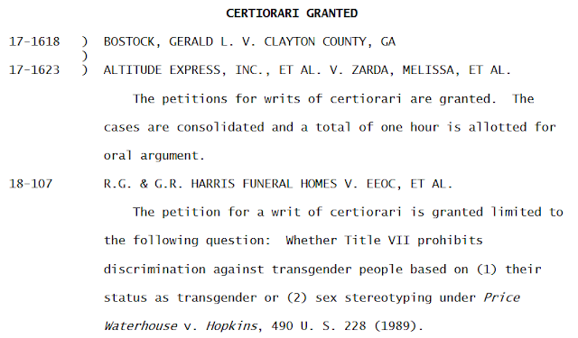 Supreme Court grants review in three cases to decide, once and for all, whether Title VII protects LGBTQ employees from discrimination