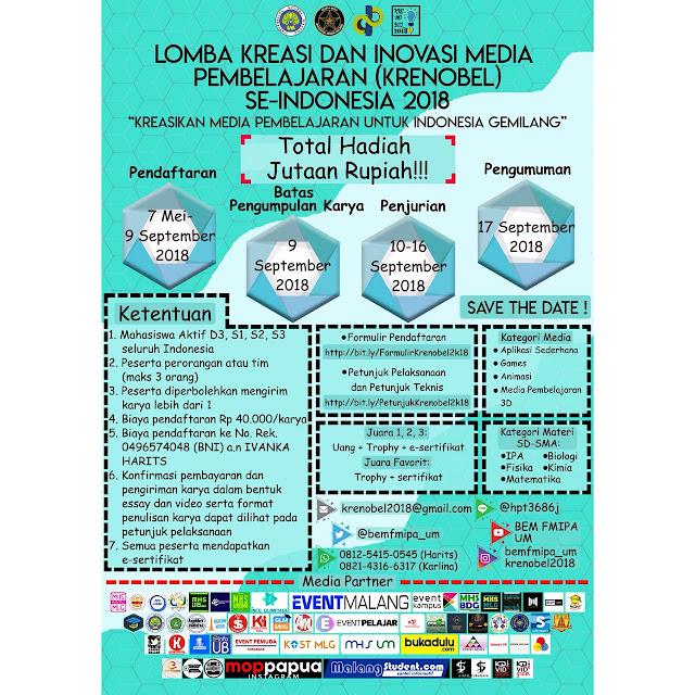Lomba Kreasi Dan Media Pembelajaran Nasional (KRENOBEL) Se-Indonesia 2018