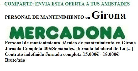 Girona. lanzadera de Empleo Virtual. Oferta Mercadona