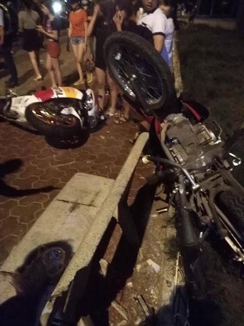 Thông tin về vụ xe mô tô tông lên vỉa hè ở khu vực Đồi Dương ( Phan Thiết )