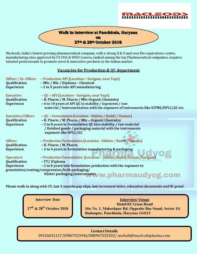 Macleods Pharmaceuticals | Walk-In for Multiple Positions | 27th&28th October 2018 | Panchukula, Haryana