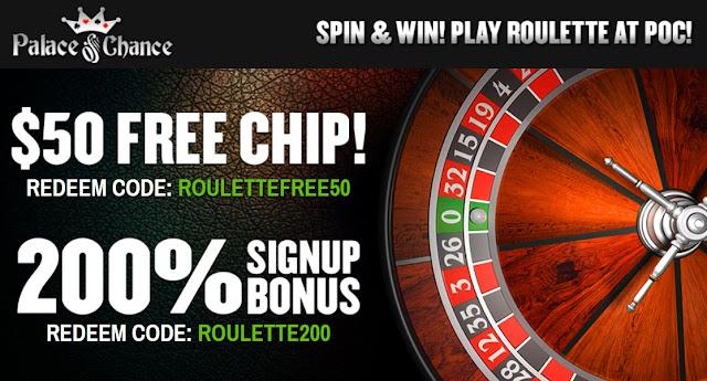Palace of Chance casino $50 free and 200% match bonus
