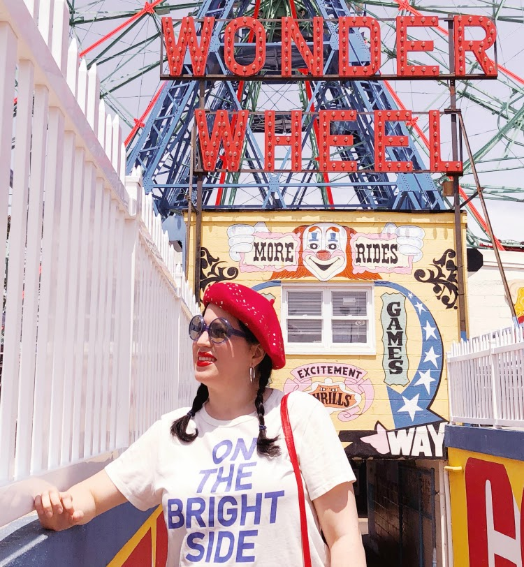 A Vintage Nerd NY Blogger Vintage Blog 1960s Beret Coney Island Guide Vintage Coney Island JCrew Style Retro Fashion 60s Style Modern Retro