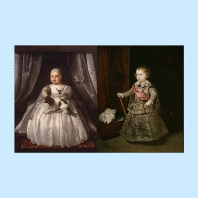 Di sebelah kiri adalah Charles II muda dari Inggris. Di sebelah kanan adalah Velázquez, putra tertua Philip IV dari Spanyol.