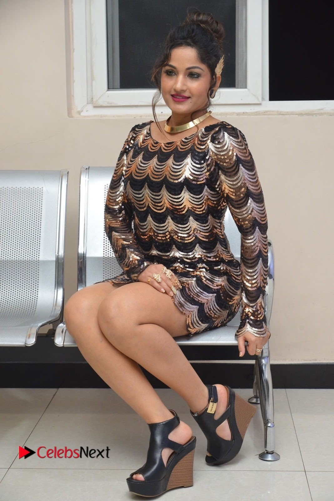 Actress Madhavi Latha  Pictures in Short Dress at On Mona Birthday Premiere  0056.JPG