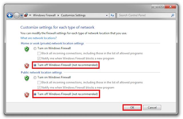 Chọn mục Turn off Windows Firewall (not recommended) sau đó bấm OK.