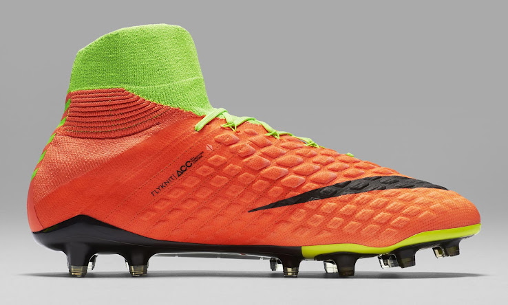 4d641eed721e ... in an orangish red (Hyper Orange). Both the laces and the lower part of  the studs on the sole plate of the next-gen Nike Hypervenom III boots are  Volt.