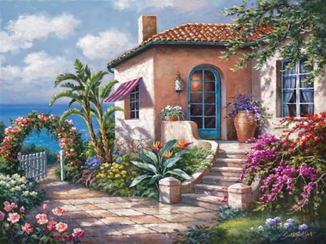 Pinturas que me gustan my way casas y paisajes for Case con verande tutt attorno