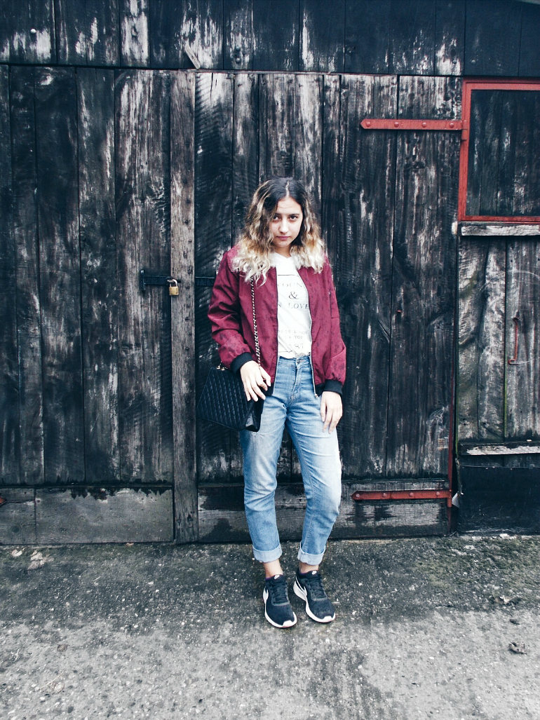 ps minimalist blog,fashion blogger valentina batrac,teen fashion and beauty bloggers,hrvatske fashion i beauty blogerice,fall 2016 trends,how to style bomber jacket this fall,fall outfits,how to wear bomber jacket with boyfriend jeans,how to style boyfriend jeans for fall/autumn