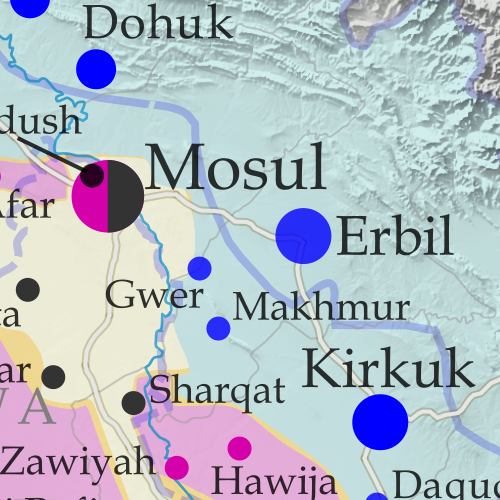 Detailed map of territorial control in Iraq as of June 15, 2017, including territory held by the so-called Islamic State (ISIS, ISIL), the Baghdad government, and the Kurdistan Peshmerga. Shows developments in the ongoing coalition battle to recapture the city of Mosul. Includes key locations from recent events, such as Baaj, Al-Hadar, Qayrawan, and the Safouk and Jayar Ghalfas border crossings. Colorblind accessible.