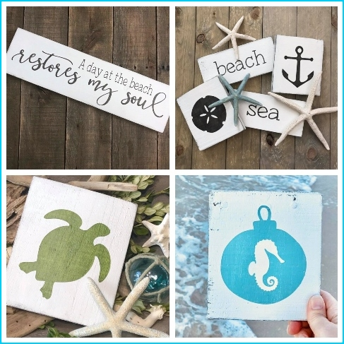 Small Coastal Wood Signs Decorations
