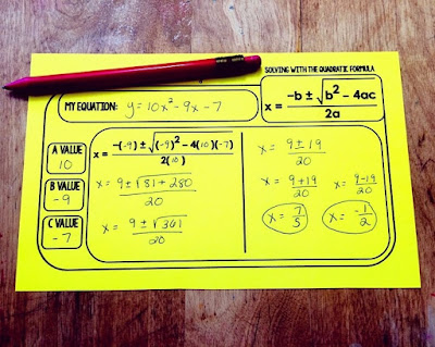This free Quadratic Formula warm up template gives students the structure of the formula so that they can focus on the values to plug in and solving. This form allows you to differentiate in your algebra classroom so that all students can find success and feel successful during your quadratics unit.