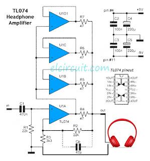 Headphone Amplifier uses 1 piece TL074 IC