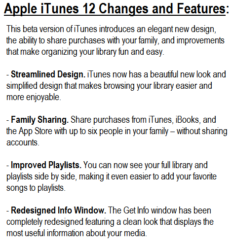 Apple iTunes 12 Beta Changes and Features