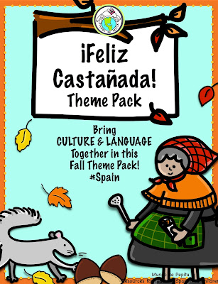 Feliz Castañada Spanish Theme Pack for Class
