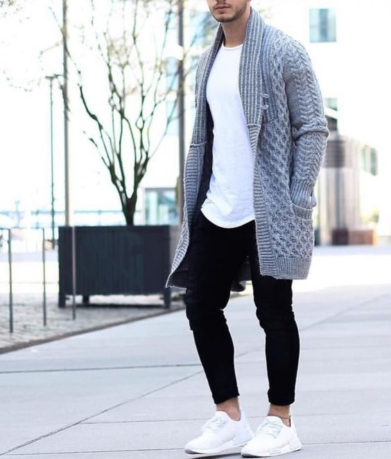 Moda Masculina Inverno Calitta Brasil Cardigan Cinza longo