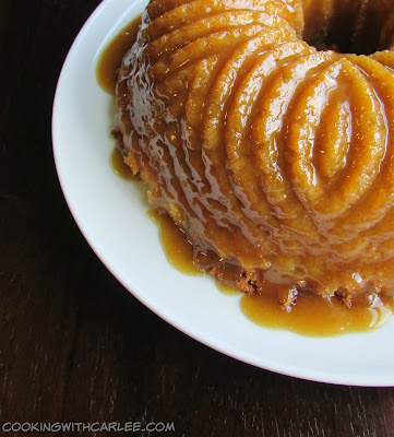 Apple Bundt Cake with Cider Caramel Sauce, shared by Cooking with Carlee at The Chicken Chick's Clever Chicks Blog Hop