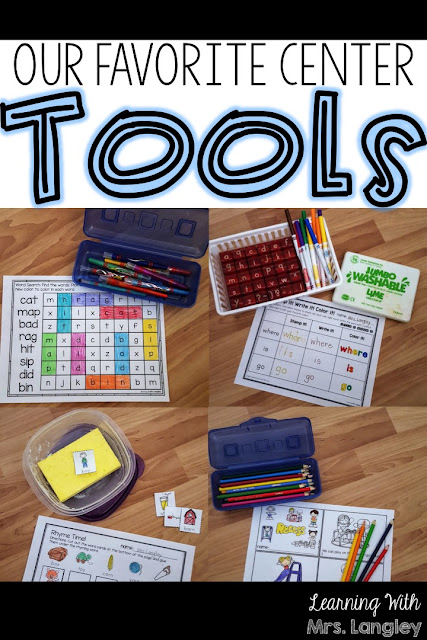 Our favorite literacy centers tools in kindergarten and 1st grade! We work these hands on activities into our rotation at the beginning of the year and classroom management has never been easier!  These ideas work for your writing, phonics, sight words, letter learning, reading, and phonemic awareness centers. A few materials and printables and your center prep just got a whole lot easier!