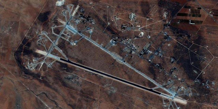 Pangkalan udara Shayrat yang jadi target pengeboman pasukan AS. (Reuters)