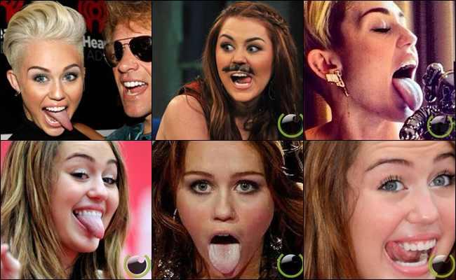11 Aksi Julur Lidah Aneh yang pernah Dilakukan Miley Cyrus
