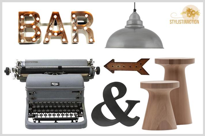 Deco estilo masculino - dia del padre - estilo industrial - nordico - retro - contemporaneo - maderas virgenes, metal, letras iluminadas, carteles de neon, lamparas fabriles, maquina de escribir, todo para un home office canchero y masculino