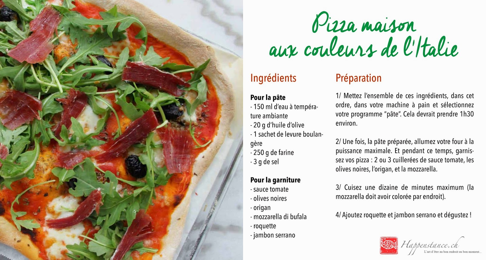 Pizza maison aux couleurs de l'Italie - pâte à la machine à pain
