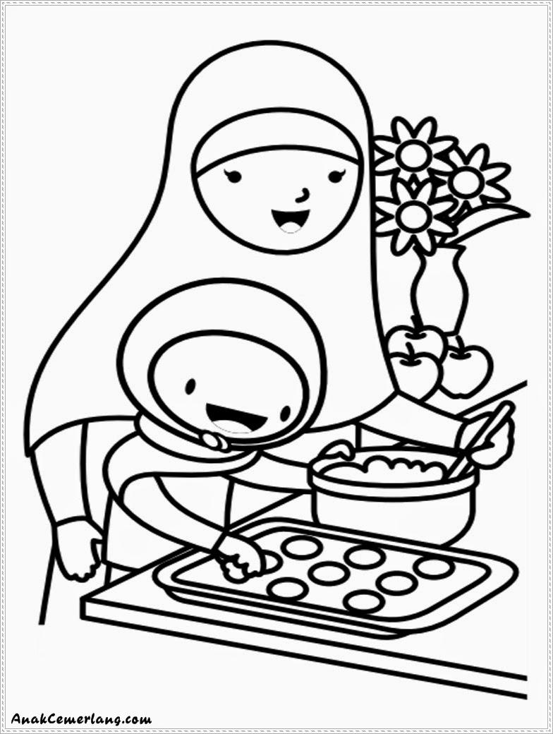 Kumpulan Gambar Sketsa Anak Sholehah Membantu Ibu