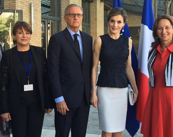 Queen Letizia attends the climate and health conference in Paris. Queen Letizia wore Nina Ricci Sleeveless top, Magrit sandals, Hugo Boss Skirt