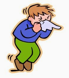 graphic of a man sneezing