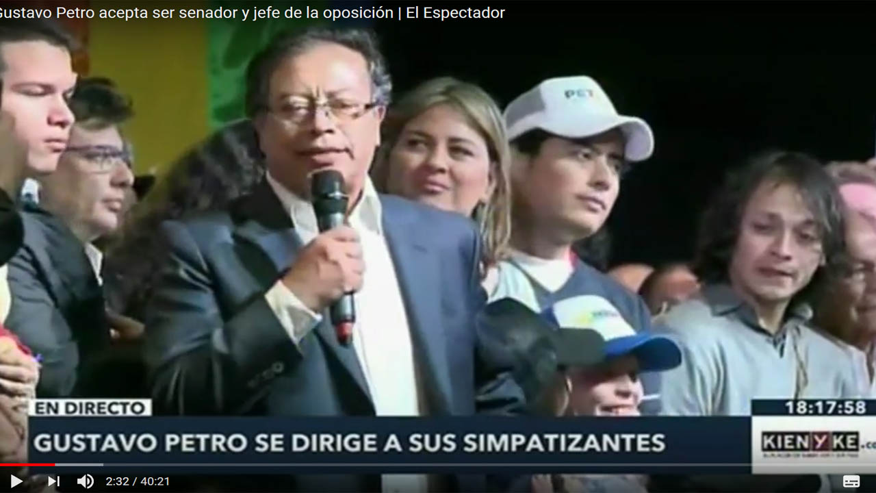 Gustavo Petro acepta ser senador y jefe de la oposición
