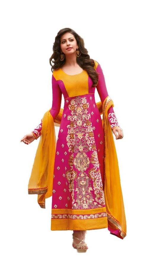 Rakul Preet Tantalizing Orange Pink Salwar Kameez