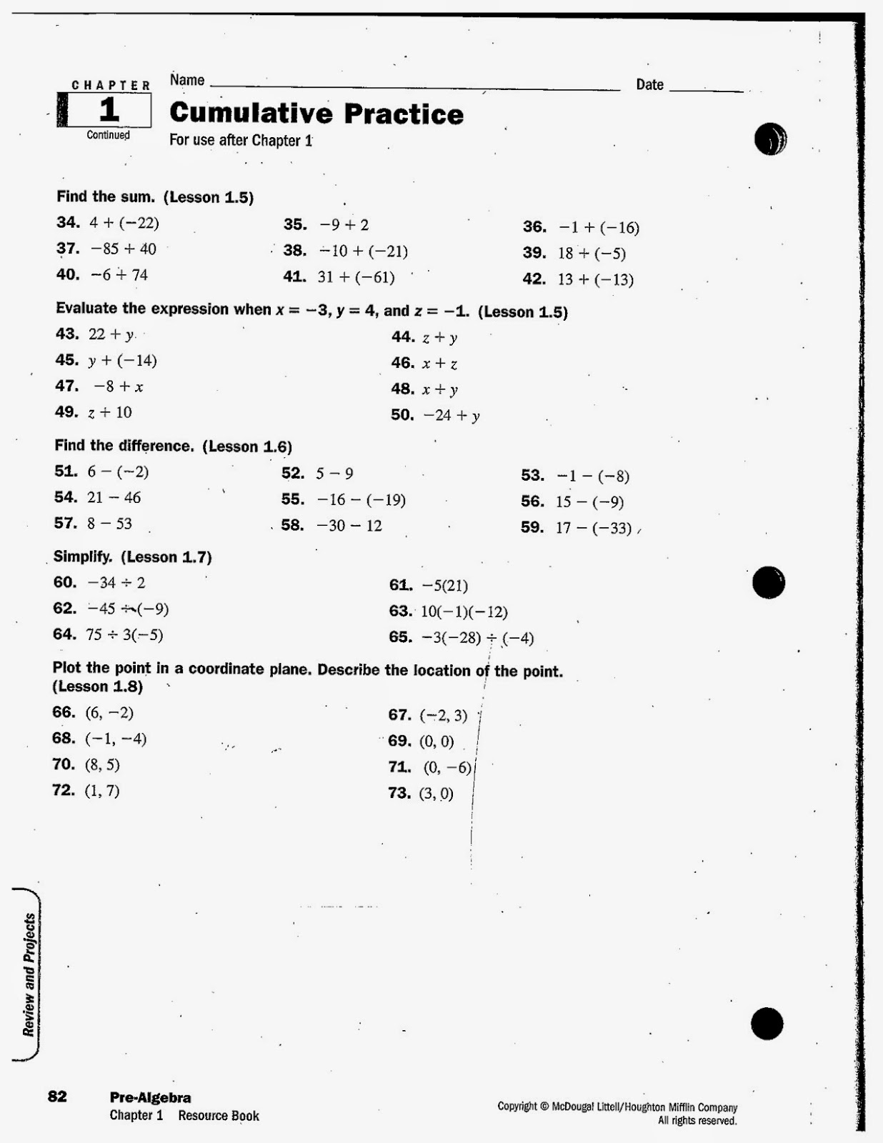 Chapter%2B1%2BReview%2B2  Th Grade Pre Alge Math Book Online on