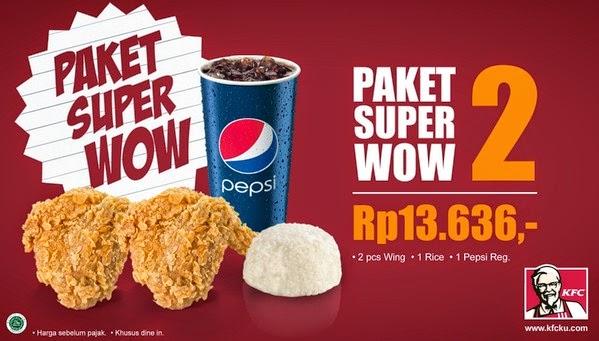 Harga Menu Paket Super Wow 2 KFC 2017