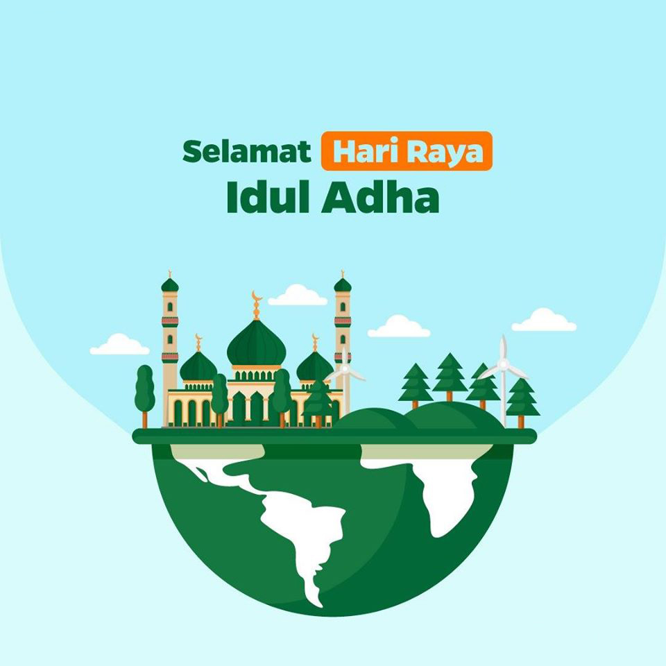 Gambar ucapan selamat hari raya idul adha terbaru 2020 1441 Hijriah bisa diedit, vector, gambar dunia, masjid warna hijau keren