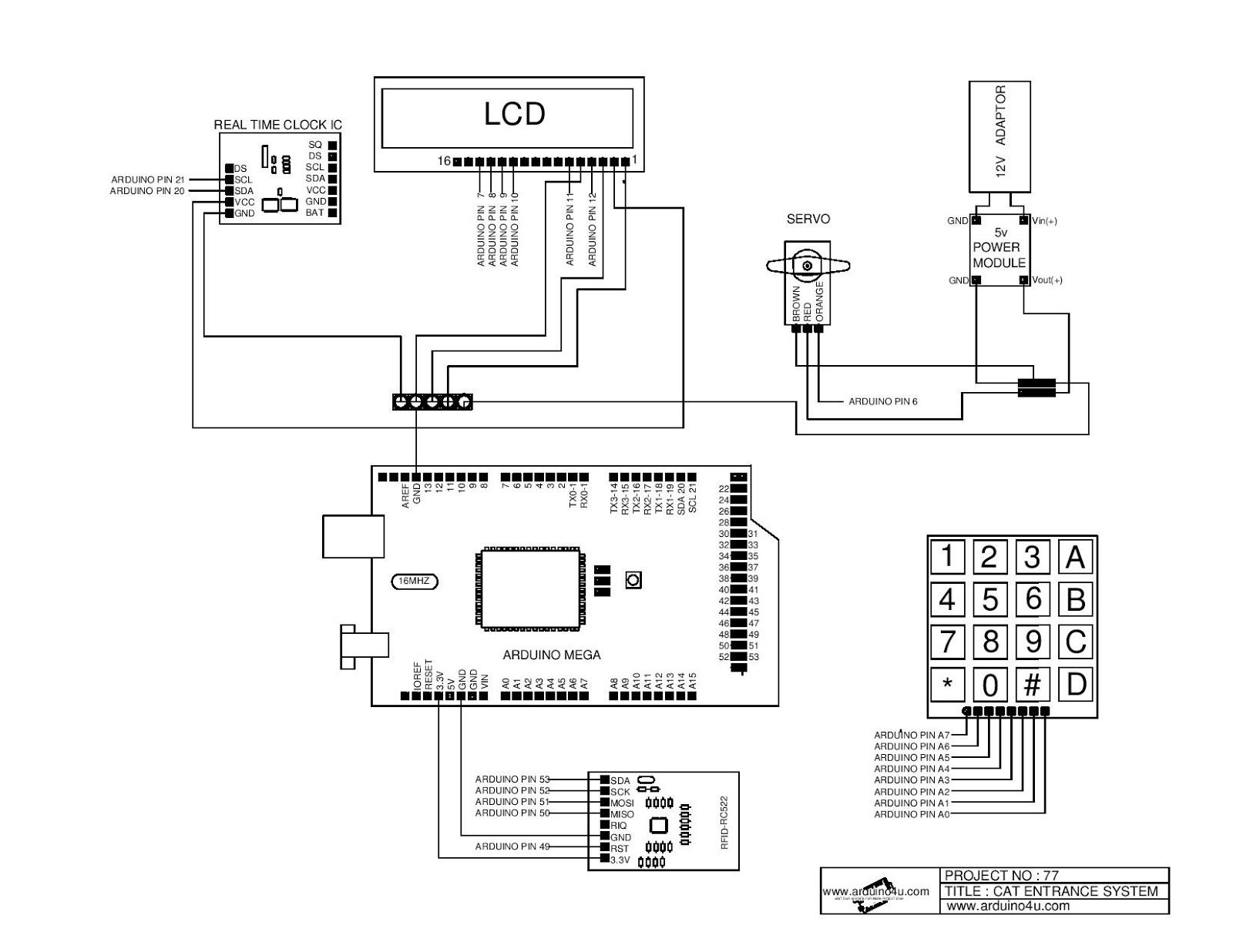 Projek Elektronik Arduino4u.com: 77. Pet entrance system