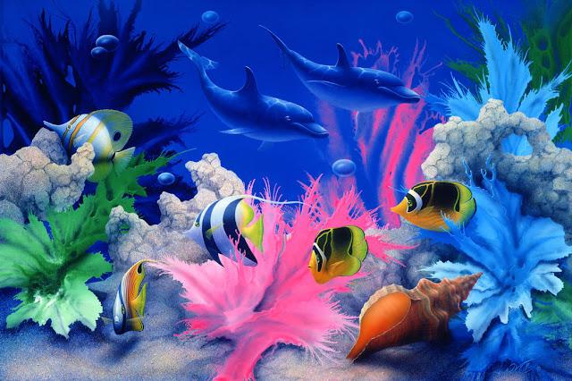 Akvaario tapetti kalat koralli veden alla lapset Lapset delfiini