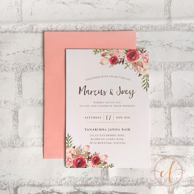 Pink Burgundy Floral Wedding Invitation Cards